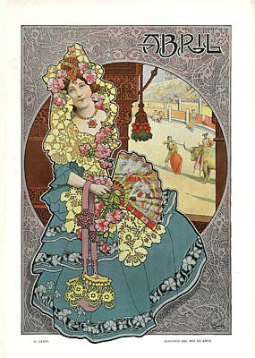 Allegory Of The Month April Poster by Gaspar Camps i Junyent