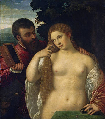 Allegory. Possibly Alfonso D'este And Laura Dianti Poster by Follower of Titian