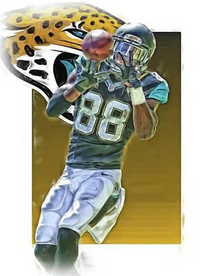 Allen Hurns Jacksonville Jaguars Oil Art Poster by Joe Hamilton