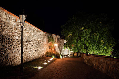Alley Along Bratislava Castle At Night Poster