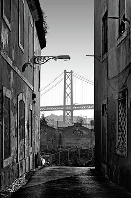 Alley And Bridge Over Tagus, Lisbon Poster