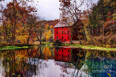 Alley Mill And Alley Spring In Autumn Poster