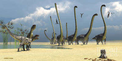 Allosaurus And Omeisaurus Dinosaurs Poster