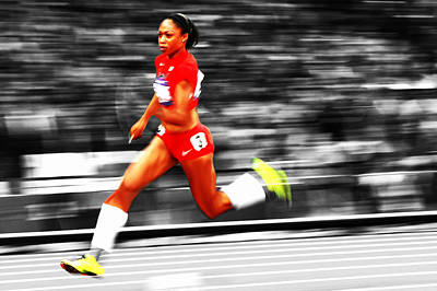 Allyson Felix In Warp Speed Poster by Brian Reaves