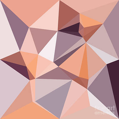 Almond Beige Abstract Low Polygon Background Poster by Aloysius Patrimonio