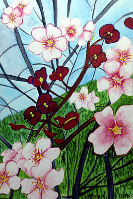 Almond Blossoms Wild Orchids In Ayn Carem Poster by Adam Alalouf