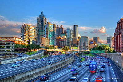 Poster featuring the photograph Almost Sunset Atlanta Downtown Cityscape Art by Reid Callaway