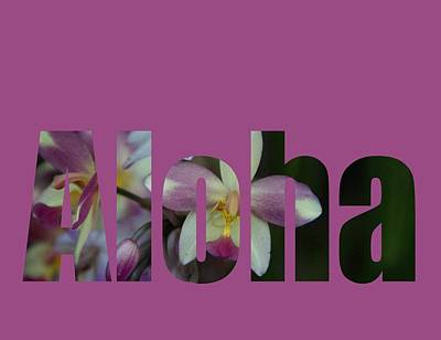 Poster featuring the photograph Aloha Orchids Type by Kerri Ligatich