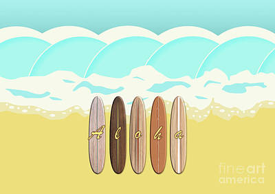 Aloha Surf Wave Beach Poster