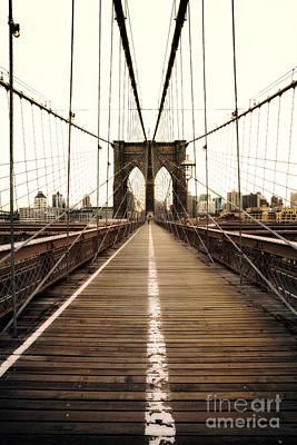 Alone On The Brooklyn Bridge Poster by John Farnan