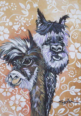 Poster featuring the painting Alpaca Do-bee  Brothers by Patty Sjolin