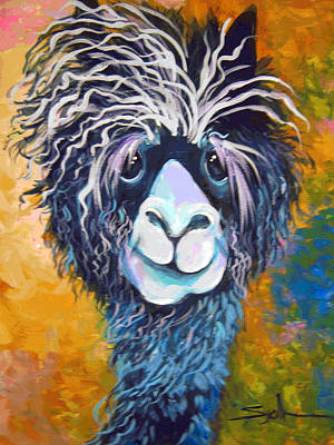 Poster featuring the painting Alpaca Punked by Patty Sjolin