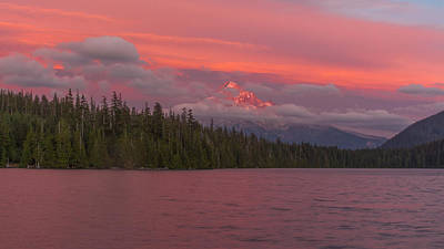 Alpenglow At Lost Lake Poster by Brian Governale
