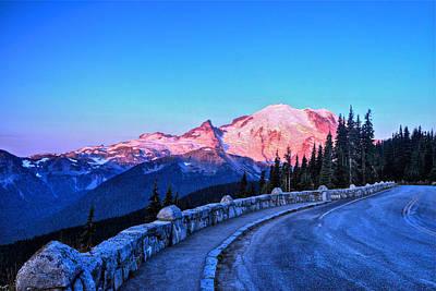 Alpenglow At Mt. Rainier Poster