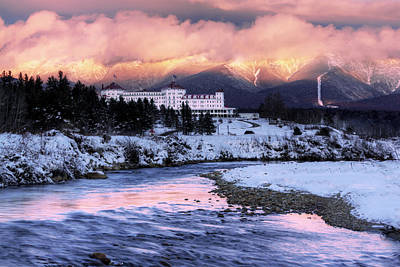 Alpenglow Over The Mount Washington Hotel Poster by Chris Whiton