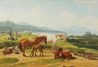 Alpensee Und Weide Mit Pferden Nach Poster