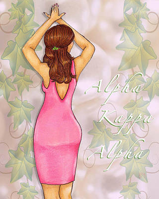 Alpha Kappa Alpha - Ivy And Pearls Poster by BFly Designs
