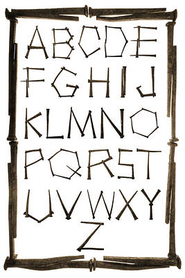 Alphabet Picture Made From Antique Rusty Nails Isolated On White Poster by Donald  Erickson