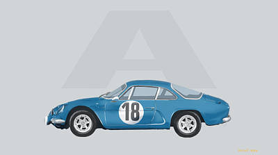 Poster featuring the mixed media Alpine A110 by TortureLord Art
