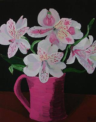 Poster featuring the painting Alstroemeria In Mug by Joshua Redman