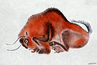 Altamira Prehistoric Bison At Rest Poster