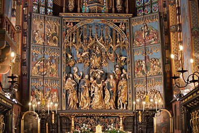 Altarpiece By Wit Stwosz In St. Mary's Basilica In Krakow Poster