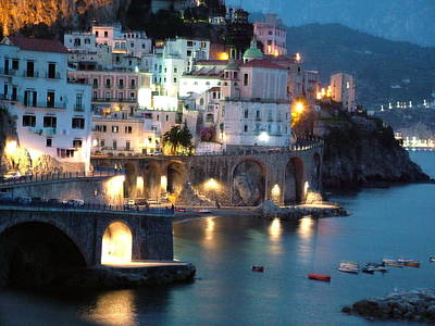 Amalfi Coast At Night Poster by Donna Corless