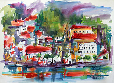 Poster featuring the painting Amalfi Coast Italy Expressive Watercolor by Ginette Callaway