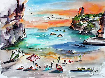Poster featuring the painting Amalfi Coast Italy Watercolors by Ginette Callaway