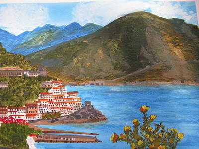 Poster featuring the painting Amalfi Coast by Trilby Cole