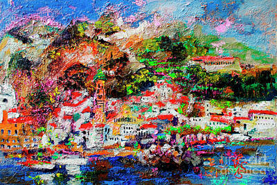 Poster featuring the painting Amalfi Impression Travel Italy by Ginette Callaway