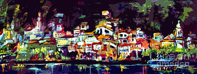 Amalfi Italy At Night Panoramic Poster by Ginette Callaway