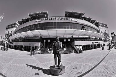 Poster featuring the photograph Amalie Arena Black And White by Lisa Wooten