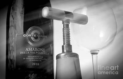 Amarone Wine And Bottle Opener Poster by Stefano Senise