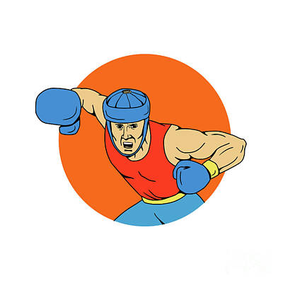 Amateur Boxer Overhead Punch Circle Drawing Poster by Aloysius Patrimonio