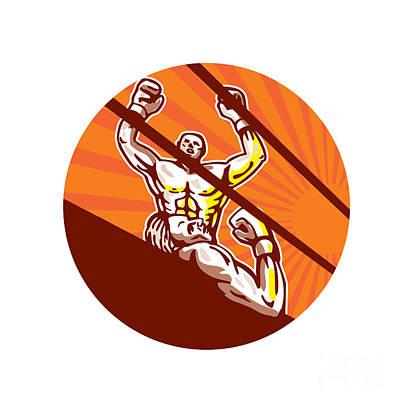 Amateur Boxer Winning Circle Cartoon Poster