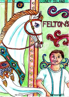 Amazed At The Merry-go-round At Feltons In Coney Island Poster