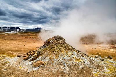 Amazing Geothermal Landscape Hverir Namafjall In Iceland Poster