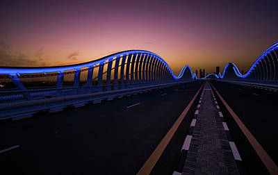Amazing Night Dubai Vip Bridge With Beautiful Sunset. Private Ro Poster