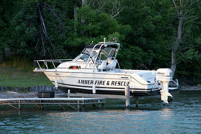 Amber Fire And Rescue Boat Finger Lakes New York Poster by Thomas Woolworth