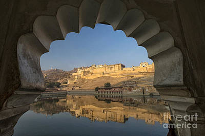 Poster featuring the photograph Amber Fort Reflection by Yew Kwang