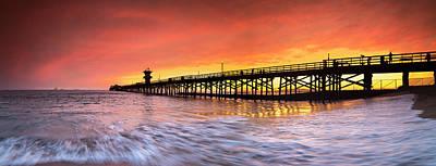 Amber Seal Beach Pier Poster by Sean Davey