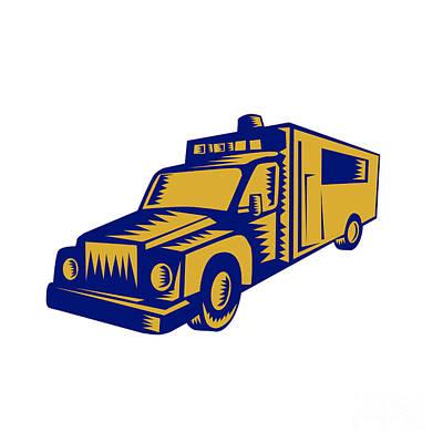 Ambulance Emergency Vehicle Truck Woodcut Poster