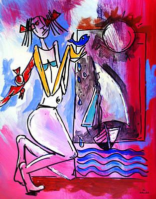Ameeba- Woman And Sailboat Poster