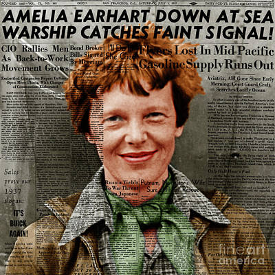 Amelia Earhart American Aviation Pioneer Colorized 20170525 Square With Newspaper Poster