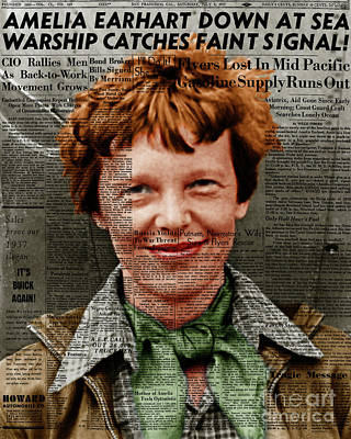 Amelia Earhart American Aviation Pioneer Colorized 20170525 Vertical With Newspaper Poster