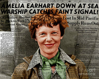Amelia Earhart American Aviation Pioneer Colorized 20170525 With Newspaper Poster