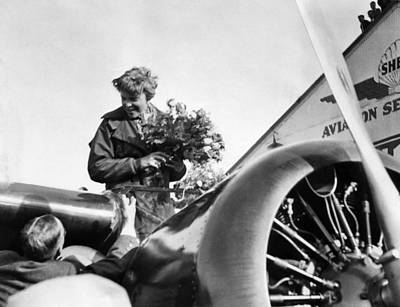 Amelia Earhart Shown Just After Landing Poster