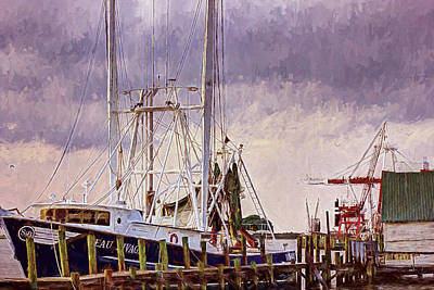Poster featuring the digital art Amelia Island Wharf by Barry Jones