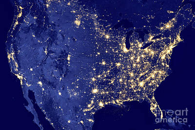 America By Night Poster by Delphimages Photo Creations